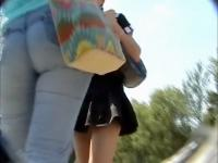 Voyeur upskirt film shot outdoors