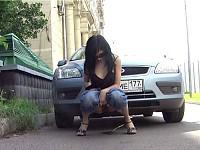 Peeing near a car