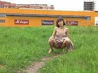 Lovely miss has a pee outdoors