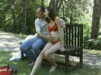 Pregnant Brunette Outdoor Hook Up