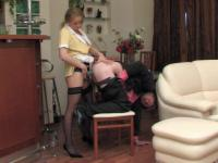 Lewd French maid using her stiff tool to give horny guy a good anal workout
