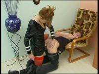 Lascivious chick is proud of her enormous strap-on drilling guy's asshole