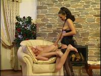 Breathtaking suck-n-fuck frenzy with strap-on armed chick and eager chap