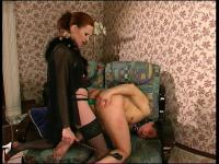Lewd strap-on armed chick is about to fuck the brains out of her man-bitch