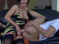 Strap-on armed female getting out of control fucking a guy's tight asshole