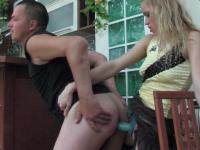 Blonde chick getting kicks from strap-on fucking guy's backdoor mercilessly