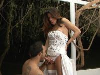 Killer body tranny bride readily plows a man-pussy after a wedding ceremony