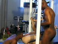 Ebony homo athletes and white fan group-fuck