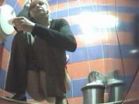 Two pissers tinkling in front of spy cam