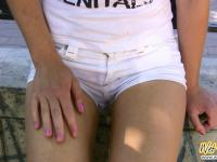 Outdoor piss mess of a girlie in shorts