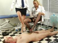 Vicious nurses trample and drill their male slave