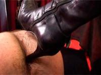 Domina fucks mature sissy's asshole with a stiletto high-heel then orders to lick it all over