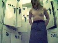 Topless blonde caught on hidden changeroom cam