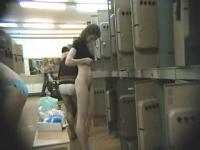 Two naughty girls filmed nude near their lockers