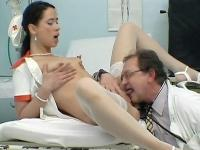 Naughty nurse Nancy spreads wide as a doctor laps up her pussy before fucking her good