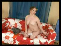 Plump gingerhaired hoochie gives a sloppy blowjob