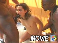 Two enormous black dicks inside one girl on film