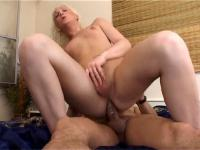 Filthy blonde tranny eagerly swallowing a hard cock and ass riding her guy