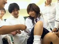Cute Japanese teenie girl fucked by several horny students