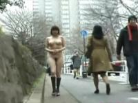 Daring teenage asian walking naked on the street publicly