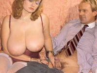 Seventies lady with insane tits receives a load on her tits