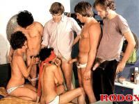 Four horny guys fucking two hairy retro girls in all holes