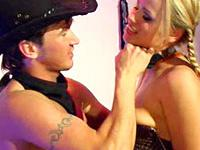 This master is such a kinky cowboy when he has his blonde slave cuffed and stretched in a barn
