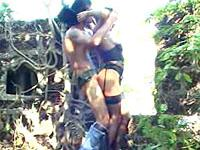 Old ruins in the jungle is a perfect place for this horny master to fuck his submissive slave