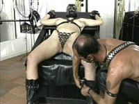 Bound hairy female slave suffers anal dildo penetration and waxing