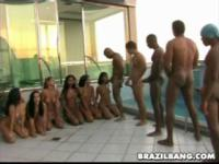 Brazilian ganbang action and pussy showin