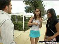 This guy meets two Latinas on the street and coaxes them back to his place for an afternoon of hot sex. They lick each other  suck his cock and take turns fucking the whole time