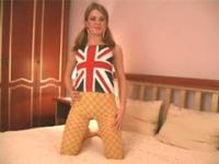 Young blondie poses in yellow patterned pantyhose