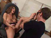 Hot big-titted milf becomes wet while dude worships her bare soles then gives him a footjob