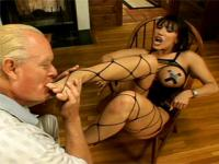 Old man worships busty hottie's high-heels, feet and ass then cums on bare feet