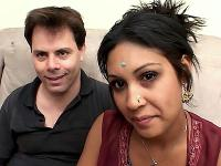 Indian girl Monkia lay down on her side in a sofa getting her pussy spoon fucked by a lucky stud