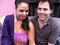 Indian chick Roopa slowly undresses in front of a guy then got her pussy doggie fucked