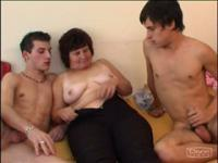 Hot chubby grandma pleases two young horny studs