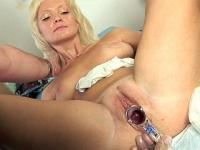 Off-putting gyno examination of a blond