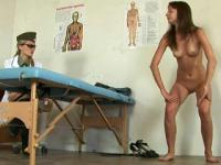 Nude gymnastics tests passed by a medical examinee