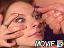 Redhead trailer trash smokes cock on her knees in movies