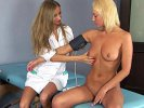 Shy blondie and her lesbian gyno doctor