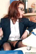 Bad bad office lady. Nasty office lady in garter belt and sexy black stockings