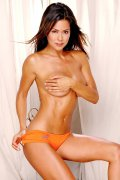 Brooke Burke in bikinis and posing nude.