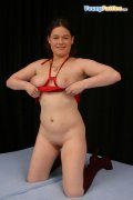 Charming fat doll gives her smooth slit a workout