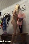 Skinny blondie with awesome body getting changed