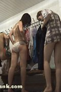 Hot naked babes crowded in a spycammed lockerroom