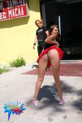 Slim teeny flashes her body in front of car wash