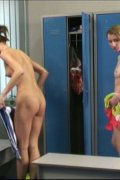 Two hotties change clothes and apply sunscreen nude