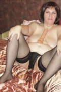 Mature chubby in pantyhose dildoing