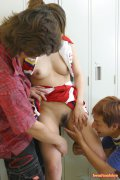 Japanese cheerleader gets fucked in the private lockerroom